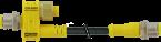 Répartiteur T M12 mâle 4 pôles / M12 mâle 4 pôles avec câble
