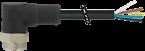 Cordon Mini (7/8) 3 pôles, mâle coudé, sortie libre