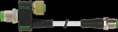 Connecteur T M12 femelle 8 pôles vers M12 mâle 3 pôles