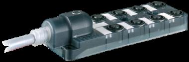 Répartiteur passif Exact12, 8xM12, 4 pôles, câble fixe