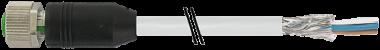 Cordon M12 femelle droit blindé sortie fils
