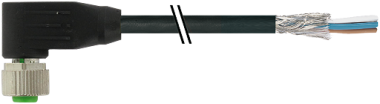 Cordon M12 femelle coudé blindé sortie fils