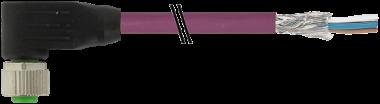 Connecteur sortie fils M12, DeviceNet / CANopen, blindé, femelle coudé
