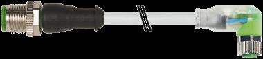 M12 St. ger. auf M8 Bu. gew. mit LED