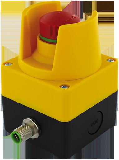 Boitier d'arret d'urgence E-Stop 72 avec protection, IP65, Tourner pour