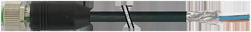 Connecteur débrochable M12, femelle M12 droit, sans LED, 4 pôles, câble