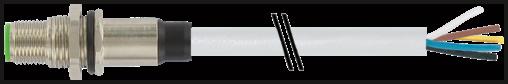 M12 Flanschstecker A-cod. freies Ltg.-ende  HWM