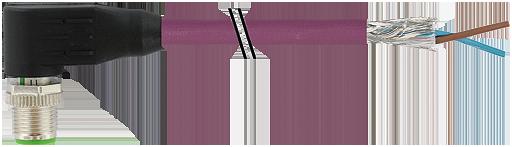 Cordon Profibus surmoulé M12 codé B, Mâle M12 codé B coudé, adapté